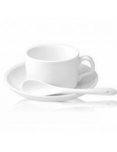 Кофейная пара с ложкой. Полноцветная печать логотипа