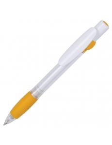 ALLEGRA SWING, ручка шариковая, желтый/белый, прозрачный корпус, белый барабанчик, пластик
