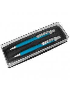 SUMO SET, набор в футляре:ручка шариковая и карандаш механический, бирюзовый/серебристый, металл/пластик