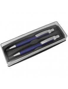 SUMO SET, набор в футляре: ручка шариковая и карандаш механический, синий/серебристый, металл/пластик
