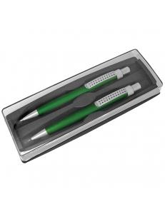 SUMO SET, набор в футляре: ручка шариковая и карандаш механический, зеленый/серебристый, металл/пластик