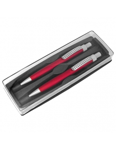 SUMO SET, набор в футляре: ручка шариковая и карандаш механический, красный/серебристый, металл/пластик