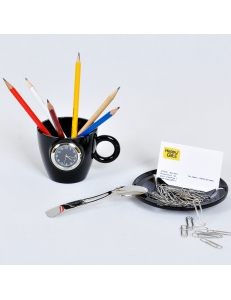 """Набор офисный """"Чайное трио"""": часы, подставка для визиток, ручек и iPhone и нож канцелярский"""