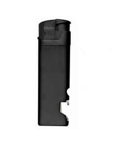 Зажигалка пьезо ISKRA с открывалкой, черная, 8,2х2,5х1,2 см, пластик