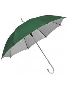 """Зонт-трость с пластиковой ручкой """"под алюминий"""" """"Silver"""", полуавтомат, зеленый с серебром, D=103 cм, нейлон"""