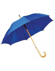 Зонт-трость с деревянной ручкой, полуавтомат, ярко-синий, D=103 см, L=90см, нейлон, шелкография