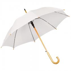 Зонт-трость с деревянной ручкой, полуавтомат, белый, D=103 см, L=90см, нейлон, шелкография