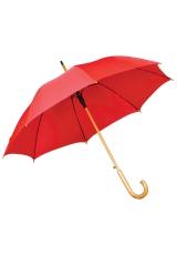 Зонт-трость с деревянной ручкой, полуавтомат, красный, D=103 см, L=90см, нейлон, шелкография