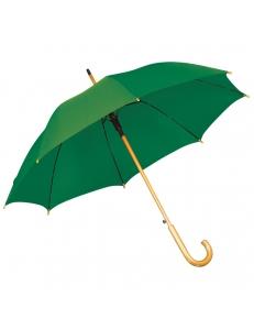 Зонт-трость с деревянной ручкой, полуавтомат, зеленый, D=103 см, L=90см, нейлон, шелкография