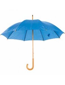 Зонт-трость механический, деревянная ручка, нейлон, D=105, ярко-синий