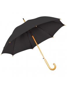 Зонт-трость с деревянной ручкой, полуавтомат, черный, D=103 см, L=90см, нейлон, шелкография