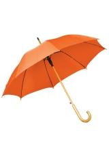 Зонт-трость с деревянной ручкой, полуавтомат, оранжевый, D=103 см, L=90см, нейлон, шелкография