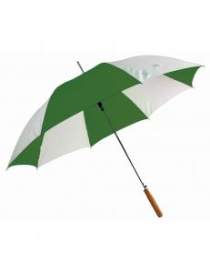 """Зонт-трость """"Joy"""" с деревянной ручкой, полуавтомат, белый с зеленым, D=103 cм, нейлон, шелкография"""