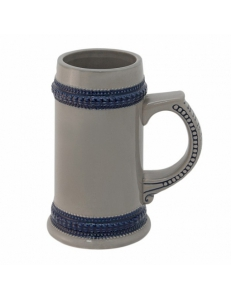 Кружка пивная с синим ободком. Полноцветная печать логотипа