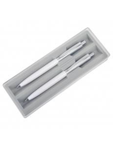BUSINESS SET, набор: ручка шариковая и карандаш механический в футляре, белый/серебристый, металл/пластик
