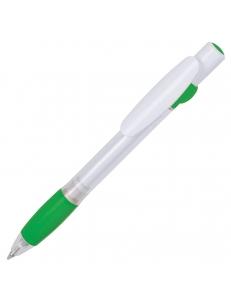 ALLEGRA SWING, ручка шариковая, зеленый/белый, прозрачный корпус, белый барабанчик, пластик