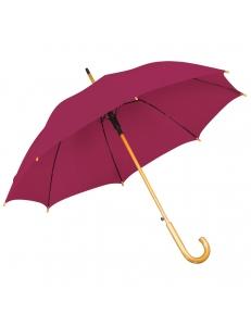 Зонт-трость с деревянной ручкой, полуавтомат, бордовый, D=103 см, L=90см, нейлон, шелкография