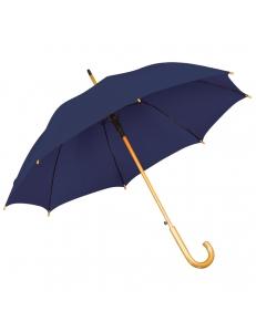 Зонт-трость с деревянной ручкой, полуавтомат, синий, D=103 см, L=90см, нейлон, шелкография