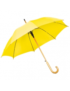 Зонт-трость с деревянной ручкой, полуавтомат, желтый, D=103 см, L=90см, нейлон, шелкография