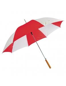 """Зонт-трость """"Joy"""" с деревянной ручкой, полуавтомат, белый с красным, D=103 cм, нейлон, шелкография"""
