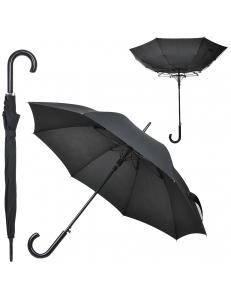 """Зонт-трость """"Anti Wind"""", полуавтомат, деревянная ручка, черный, D=103 см"""