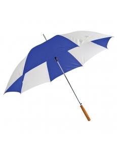 """Зонт-трость """"Joy"""" с деревянной ручкой, полуавтомат, белый с синим, D=103 cм, нейлон, шелкография"""